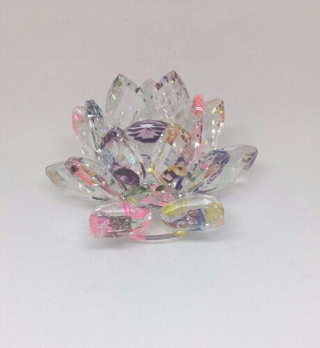"Feng Shui 3/"" Crystal Lotus Flower Colors: Blue, Multi, Pink, Blue, Green"