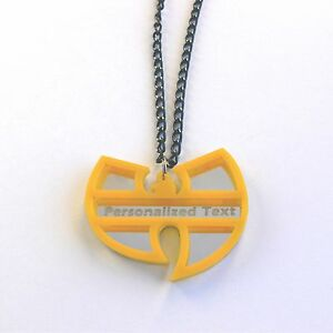 Wu tang clan personalized text necklace laser cut mirror yellow image is loading wu tang clan personalized text necklace laser cut aloadofball Images