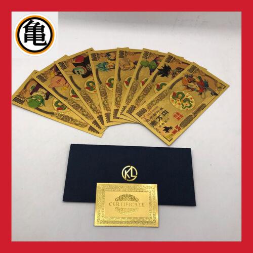 Lot 8 banknote 10000 yen figurine dragon ball z dbz card carddass super gold gold