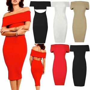 Image is loading Womens-Bodycon-Ladies-Off-Shoulder-Bardot-Ruffle-Frill- afcdcd8d9