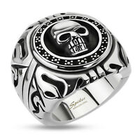 Men's 316l Stainless Steel Skull Shield Fancy Wide Ring Size 9-15
