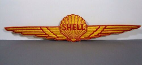 "SHELL AVIATION-AEROSHELL Embroidered Sew-On Uniform-Jacket Patch 14/"" LARGE Vtg"