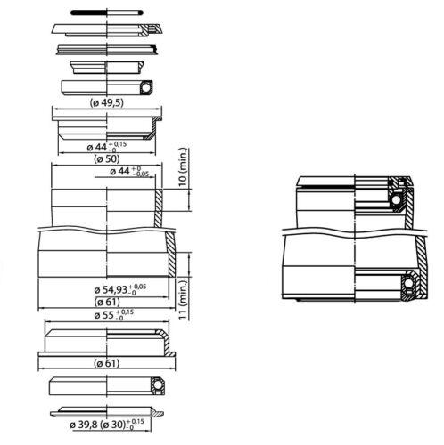 ZS55 40 ZS44 28,6 Supra H156C Tapered Steuersatz Semi-Integriert schwarz 170gr