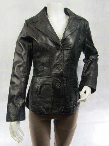 femmes cuir Napa noire ajustée en ajustée Veste pour motard SwZq8n1