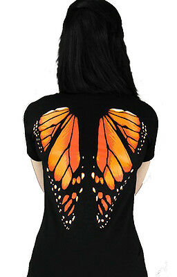 MONARCH BUTTERFLY WINGS Womens V-Neck Top by Restyle Clothing. Goth, Steampunk