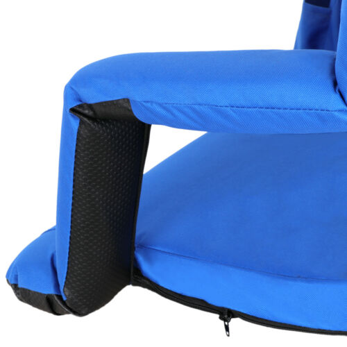 2 Pieces Blue Wide Stadium Seat Chair Bleachers Benches 5 Reclining Positions