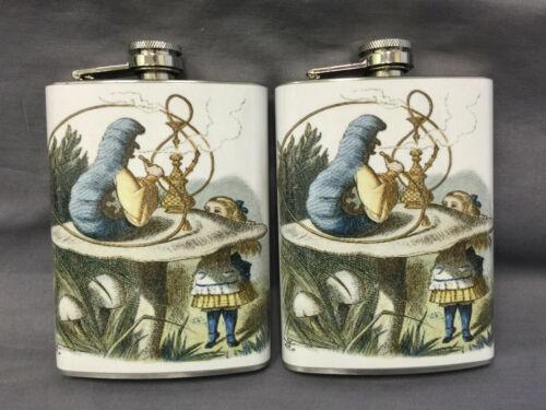 Set of 2 Alice in Wonderland D283 Flasks 8oz Stainless Steel Drinking Whiskey