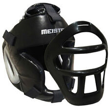 LEATHER HEAD GUARD w/ REMOVABLE FACE MASK - Meister MMA Boxing Headgear FITS ALL