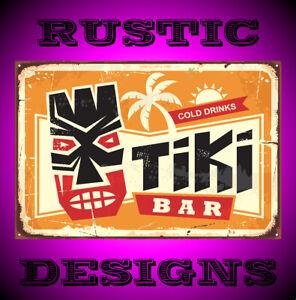 Tiki bar vintage tin sign with Hawaiian tiki mask sign man woman cave pub 9664