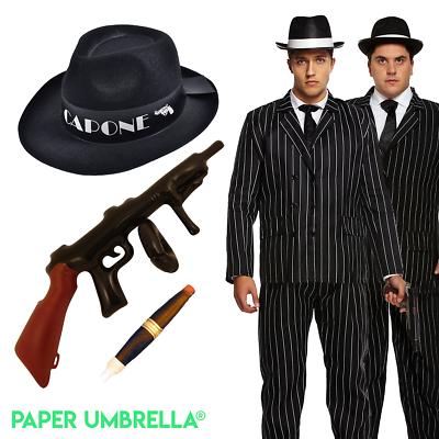 Gangster 1920s 1930s Hat Braces Tie Cigar Tommy Gun Spat Peaky Blinders Set