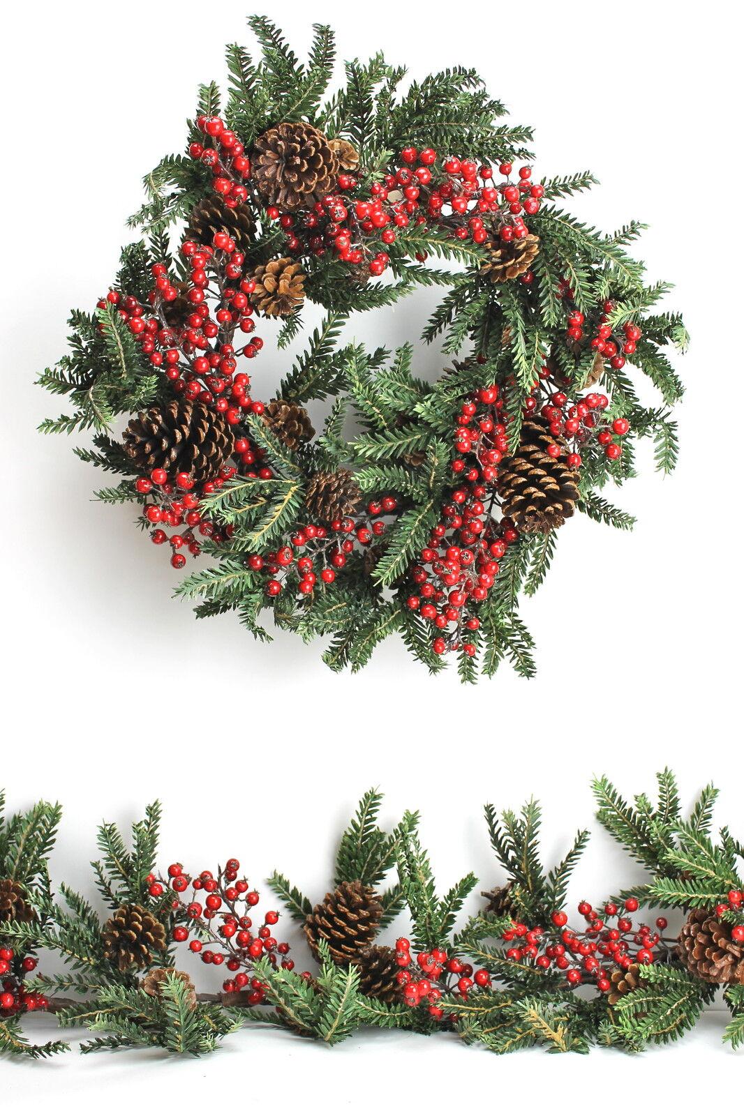 Gisela Graham Weihnachten Grün Tannenholz Girlande Kranz mit Natürlichen Kegel