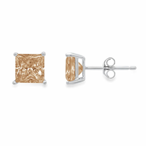 Details about  /0.5ct Princess Classic Studs Champagne Rock 18K White Gold Earrings Push back