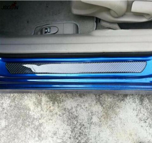 "2x19.0/""2x9.8/"" Carbon Fiber Car Scuff Plate Door Sill Pedal Protector Cover Strip"