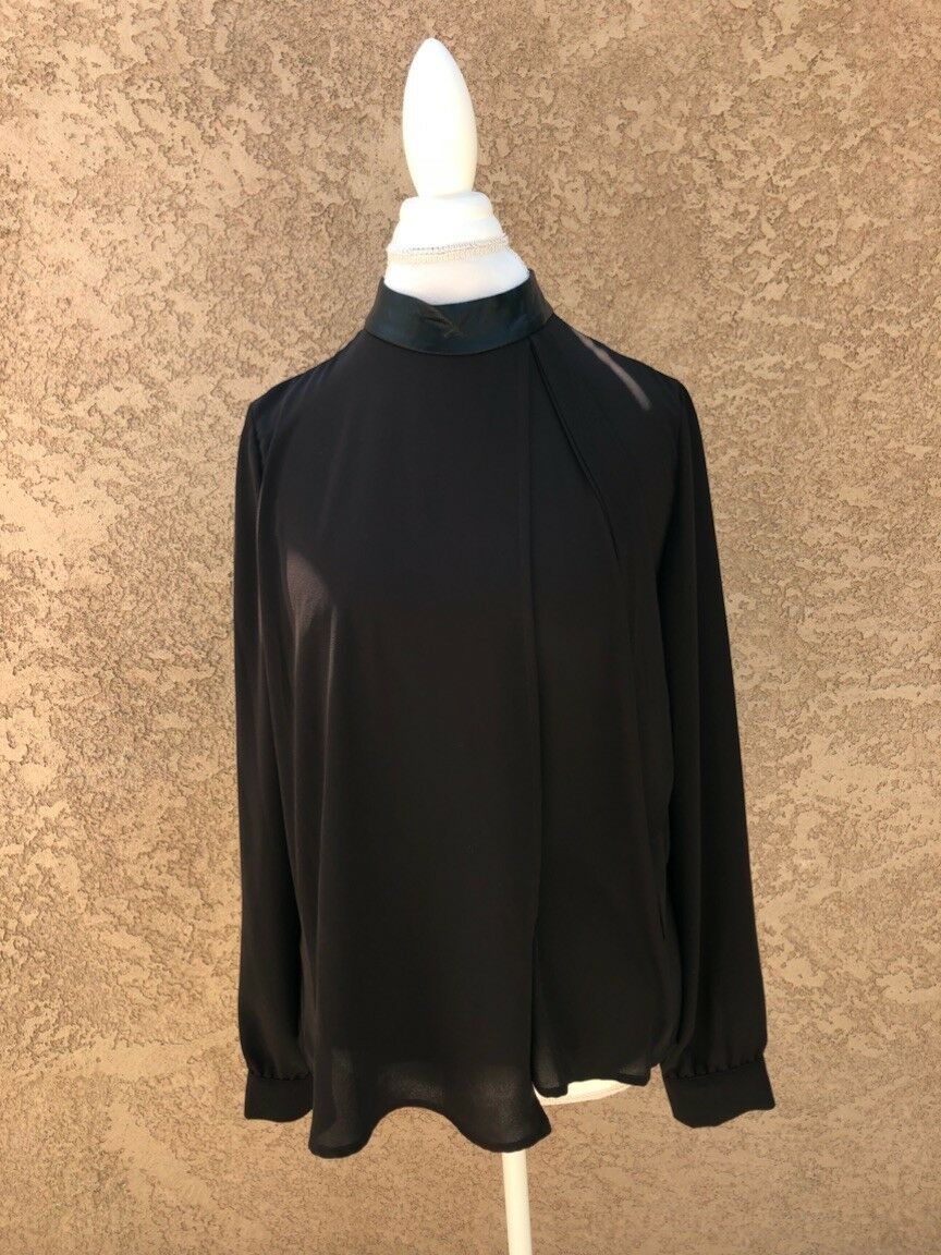 Alberto Makali Faux Leather Trim Blouse Größe M