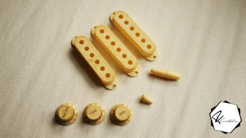 Heavy Aged//Reliced Creme Pickup Cover Knobs Switch Set for Strat Stratocaster