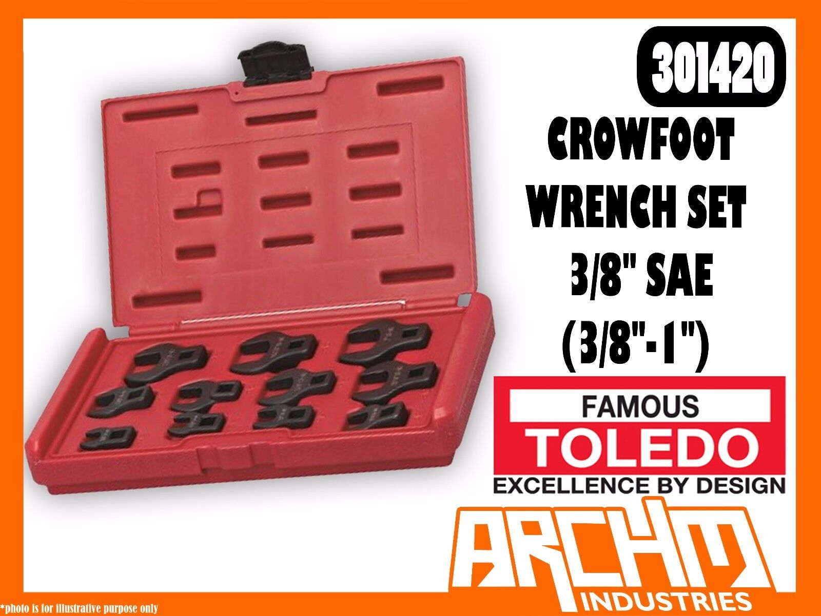 TOLEDO 301420 - CROWFOOT WRENCH SET 3 8  - SAE (3 8 -1 ) 11 PC STRAIGHT JAW
