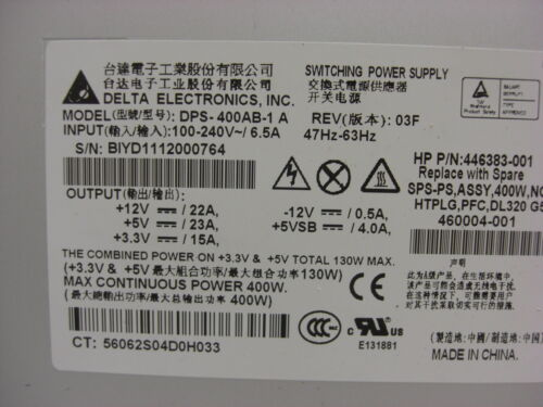 HP 460004-001 446383-001 Delta dps-400ab-1 a 400w switching power supply