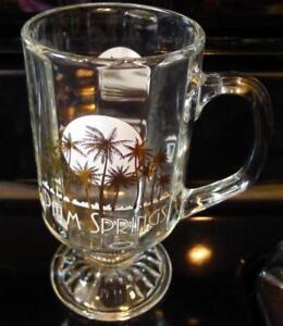 Palm-Springs-Clear-Glass-Coffee-Mug-Pedestal-Sun-and-Golden-Palms