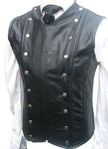 Mens Black Leather Waistcoat Vest Victorian Corset Steel Boned Goth Military