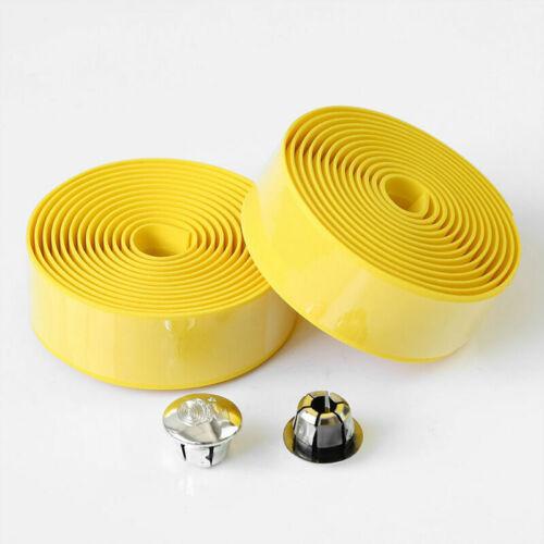 2x Road Bike Bicycle Handle Bar Grips Rubber Foam Tape Belt With Plugs Black