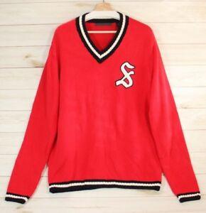 V de bordado logo 79 Suéter Sean rojo para con en cuello y John hombre IwC6a8q