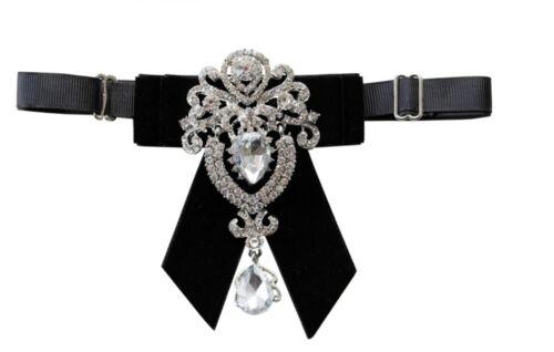 Black Or Burgundy Velvet Rhinestone Dangle Wedding Men Pre Tied Bow Tie Neck Tie