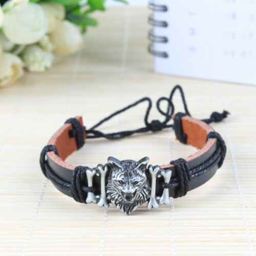 Mens Vintage Wolf Head Leather Wrist Band Adjustable Cuff Bangle Bracelet UK