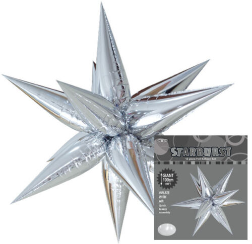 "STARBURST BALLOON 40""100cm METALLIC SILVER PERFECT FOR DECORATING LARGE SPACES"