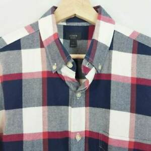 J-CREW-Mens-Size-M-Large-Check-Long-Sleeve-Oxford-Shirt