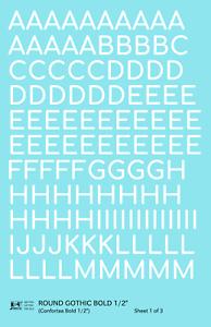 K4 G Decals White 1/2 Inch Round Modern Gothic Bold Letter Number Alphabet Set