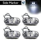 4X White LED Side Marker Light Clearance Lamp Car Truck Trailer Caravan 12V 24V