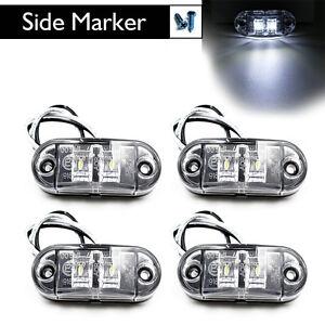 4X-White-LED-Side-Marker-Light-Clearance-Lamp-Car-Truck-Trailer-Caravan-12V-24V