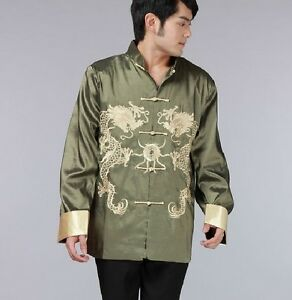 3XL M Double face Chinese men/'s silk//satin jacket//coat Green and burgundy SZ