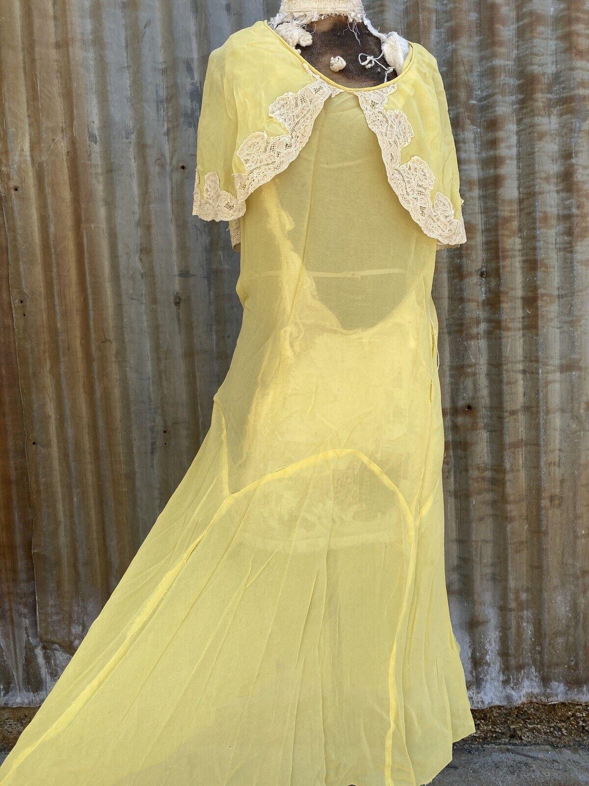 Antique 1920s 1930s Yellow Silk Chiffon Midi Dres… - image 3