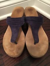 Ugg Australia Zamora Purple Suede Wedge Thong Sandal Size 10