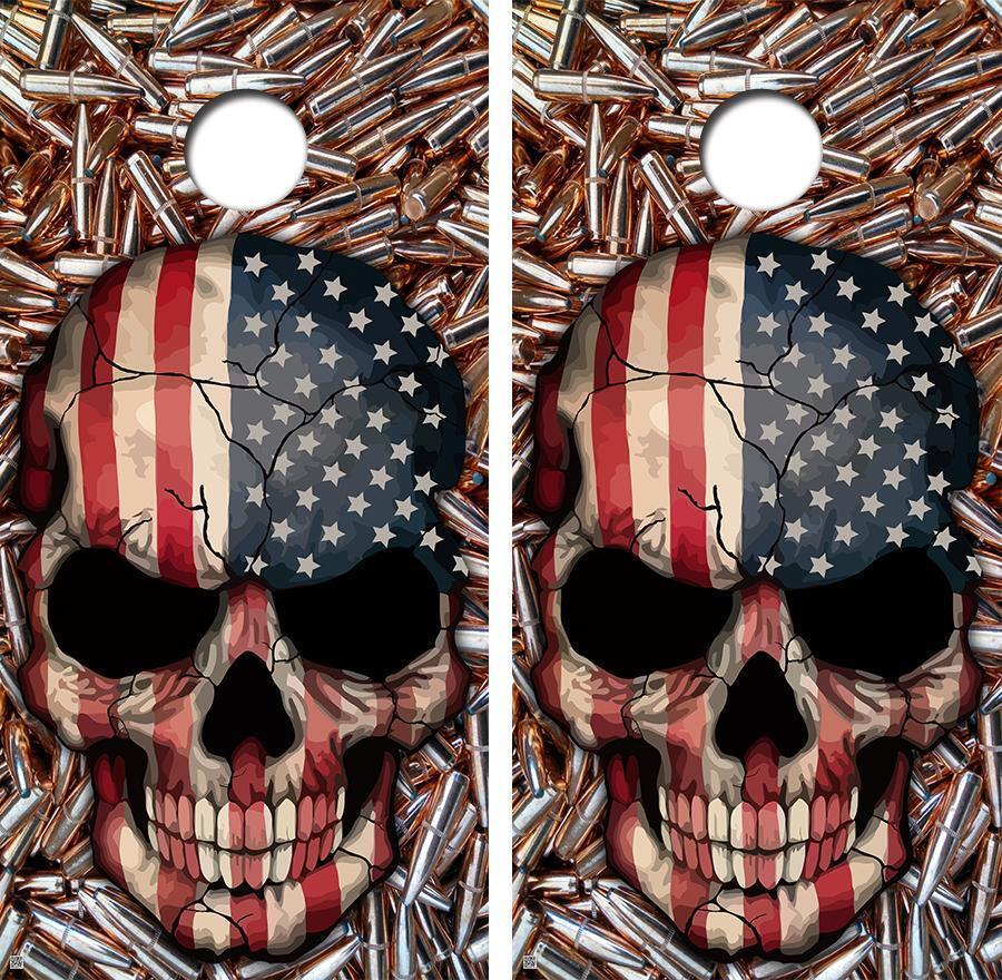 American Skull Brass Bullets Style Cornhole Board Skin Wrap FREE SQUEEGEE