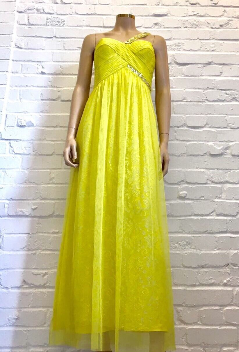 BCBG Lemon Yellow Maxi Dress W Asymmetric Strap & Diamanté Detailing