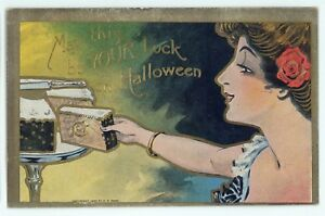 Lady-with-Cake-May-This-Be-Your-Luck-on-HALLOWEEN-Vintage-Postcard