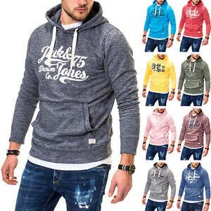 Jack-amp-jones-senores-sudaderas-Hoodie-sueter-Sweater-sueter-casual-Print