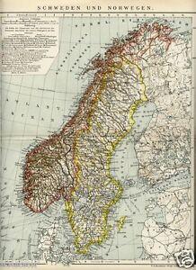 1900 SVEZIA NORVEGIA Antica Mappa OLD MAP - Italia - 1900 SVEZIA NORVEGIA Antica Mappa OLD MAP - Italia