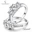 Trilogia-de-senoras-plata-esterlina-925-Anillo-Banda-Compromiso-de-boda-circonita miniatura 7