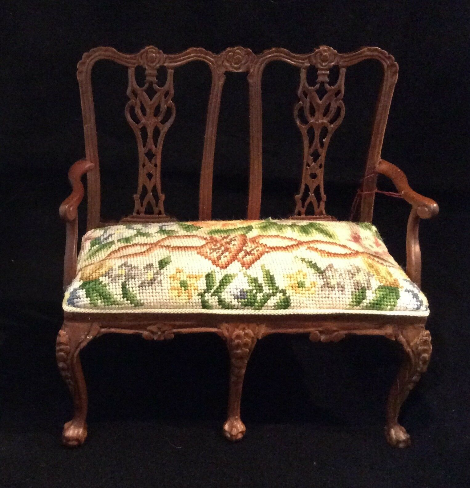 JBM Miniature Dollhouse settee with antique petit point - needlepoint.