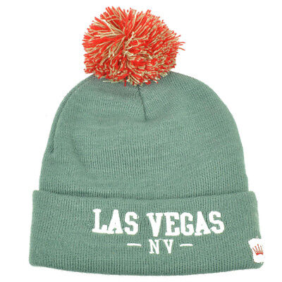 Team Sports Las Vegas Pom Pom Cuffed Knit Beanie Sin City Of Lights Nevada State Gray Hat Traveling Sporting Goods
