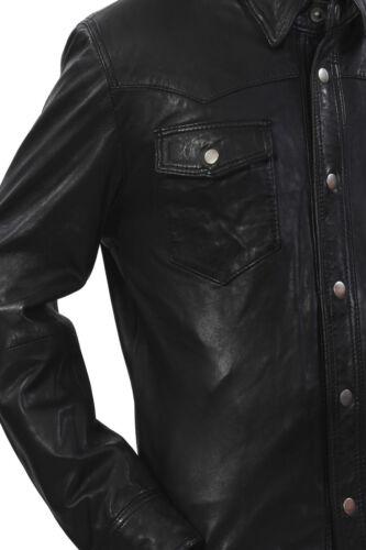 Pelle Colletto Vera M114 Camicia Uomo Regolabile Giacca Retro Casual Morbido gTPRqfw