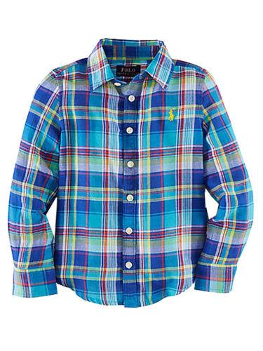 Ralph Lauren Girls Plaid Cotton Twill Long Sleeve Shirt