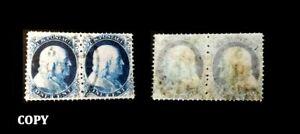 U-S-Postage-1857-Benjamin-Franklin-1c-Blue-Type-1a-Pair-200000-Replica