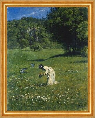 Auf der Waldwiese Hans Thoma Schwarzwald Blumen pflücken Frau Bütten H A3 0509