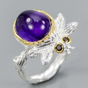 Vintage-SET-Natural-Amethyst-925-Sterling-Silver-Ring-Size-7-R98735