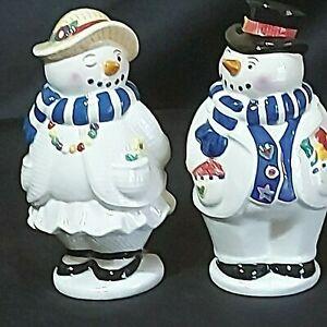 Vintage-Snowman-S-amp-P-Shaker-Ceramic-Man-5-034-Woman-4-3-4-034-Blue-Scarf-1999-Preowned