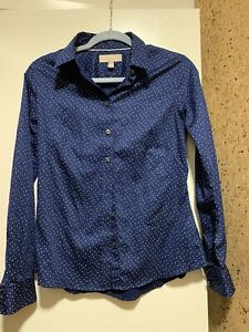 Banana Republic Fitted Shirt Size 4 Women's Long Sleeve Dark Blue Career